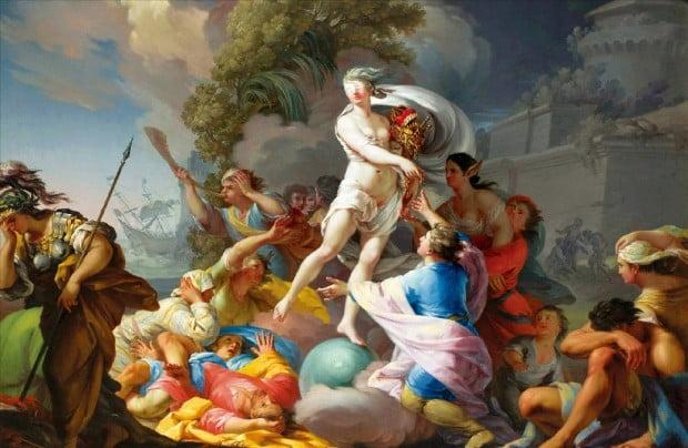 타데오 쿤체(1727~1793)의 1754년작 '포르투나'(유화, 114×163㎝). 폴란드 바르샤바 국립미술관 소장. 눈을 가린 운명의 여신 포르투나가 풍요를 상징하는 보석을 들고 사람들에게 금을 나눠주고 있다. 아테나 여신은 포르투나 여신을 피해 고개를 숙인 채 자리를 떠나고 있다. 포르투나 뒤에는 배가 파선해 가라앉고 있다.