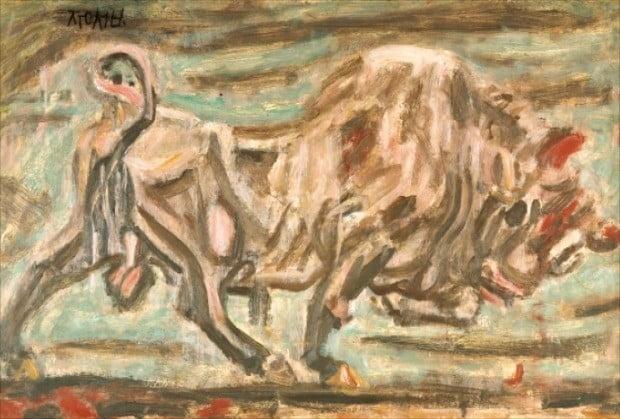 지난 3월 서울옥션 제147회 미술품 경매에서 47억원에 낙찰된 이중섭의 '소'.