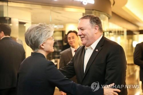 강경화-폼페이오, 워싱턴서 회담…한미 외교수장 대북 조율