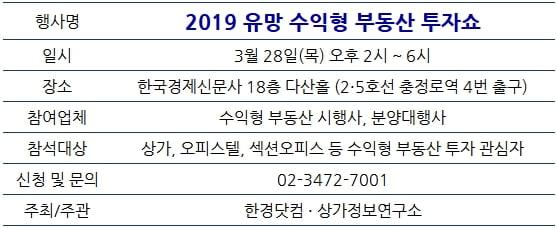 [한경부동산] 오는 3월 수익형 부동산 투자쇼 열린다…참가업체 모집