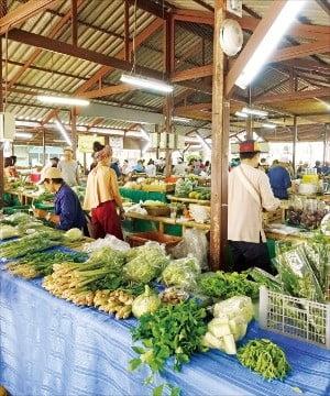매주 일요일 열리는 징자이마켓. 고산족이 재배한 농산물과 공예품을 판다.