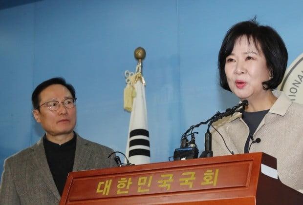 투기 의혹 관련해 기자회견 하는 홍영표-손혜원  (사진=연합뉴스)