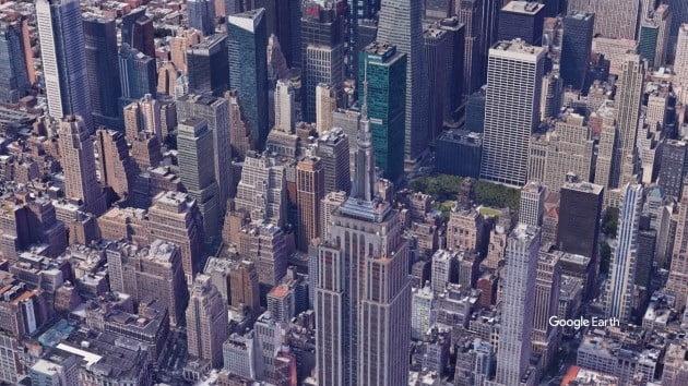구글 어스 스튜디오로 만든 뉴욕 엠파이어 스테이트 빌딩 모습.