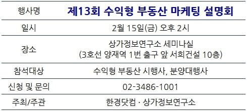 [한경부동산] 수익형 부동산 마케팅 설명회, 내일 신청 마감