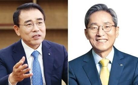 (좌)조용병 신한금융지주 회장, (우)윤종규 KB금융지주 회장