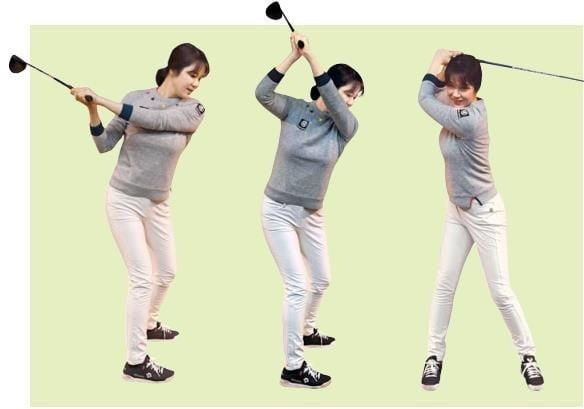 낮고 평평하게 만들어진 톱(맨 왼쪽 사진)은 엎어 치는 보상 동작이 나오기 쉽다. 톱이 너무 높고 가팔라도(가운데) 임팩트 타이밍을 맞추기가 쉽지 않다. 다운스윙에서 오른쪽 옆구리가 찌그러져 악성 훅이 나오기도 한다. /신경훈 기자 khshin@hankyung.com
