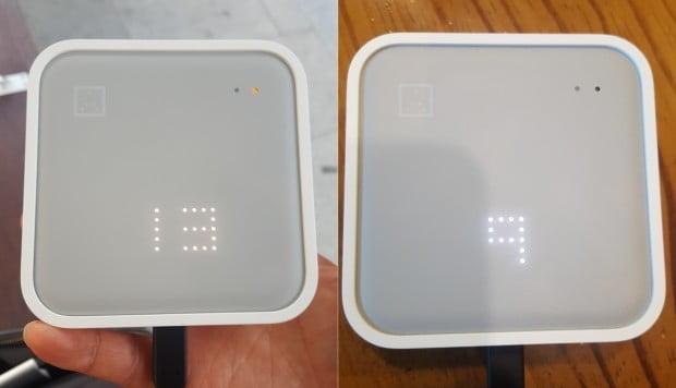 지난 13일 오후 4시경 서울지하철 시청역 근처에서 휴대용 측정기로 잰 미세먼지 수치. 실내(오른쪽)와 실외도 다소 차이가 있다.