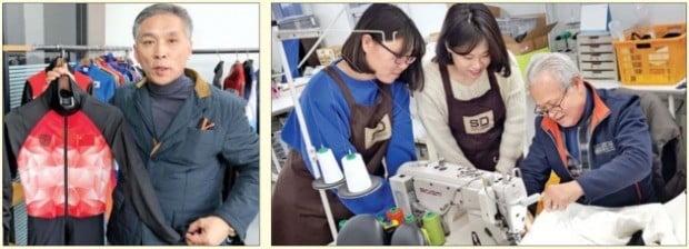 김윤수 애플라인드 대표가 강원 원주에 있는 사무실에서 중국 빙상 국가대표 선수들의 경기복을 소개하고 있다(왼쪽). 오른쪽 사진은 57년 경력의 태인명 봉제 가공실장이 20대 직원들에게 봉제 가공 방법을 설명하는 모습.   /애플라인드 제공