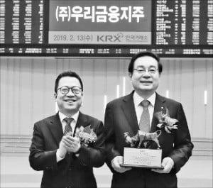 손태승 우리금융 회장(오른쪽)과 정지원 한국거래소 이사장이 기념촬영하고 있다.  /우리금융 제공