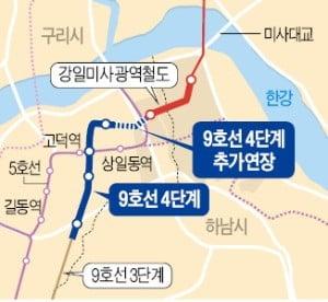 """""""끊어진 9호선 강일구간 연장해 달라"""""""