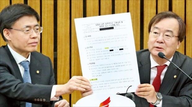 강효상 자유한국당 의원(오른쪽)이 19일 국회에서 열린 원내대책회의에서 환경부 블랙리스트 관련 발언을 하고 있다.  /연합뉴스