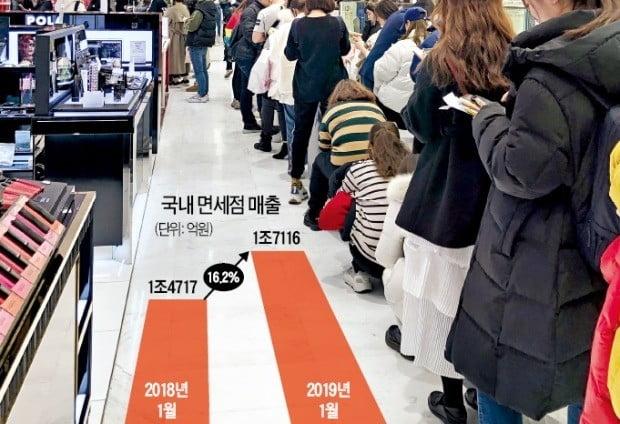 중국인 보따리상(따이궁)이 21일 오전 롯데면세점 명동본점에서 화장품을 대량으로 구입하기 위해 길게 줄을 서 있다.  /안재광 기자