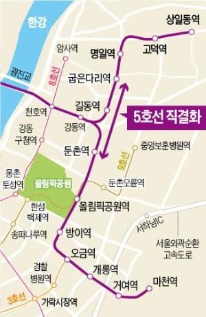 """""""5호선 직결…강남行 황금노선 열린다"""" 강동·하남 집값 상승 '기대'"""