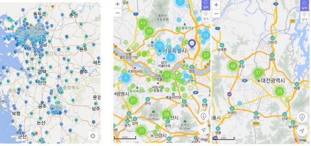 전국지도를 통해 본 미세먼지 관측소 에어맵코리아(맨 앞쪽)과 에브리에어를 통해 미세먼지 측정소 수를 보니, 지방과 수도권 격차가 커 보였다./사진 각각의 앱 캡처.