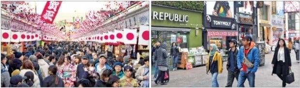 < 붐비는 도쿄 아사쿠사…썰렁한 명동 > 중국의 사드 보복이 2년째 이어지고 있다. 지난 12일 서울 명동 화장품 로드숍(오른쪽)은 손님이 거의 없어 한산한 모습인 반면 일본의 대표적 관광지인 도쿄 아사쿠사거리(왼쪽)에는 외국인을 포함한 관광객이 가득 차 있다. /허문찬·도쿄=김영우 기자 sweat@hankyung.com