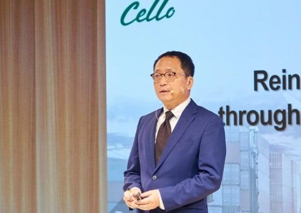 김형태 삼성SDS 부사장이 2019 첼로컨퍼런스에서 올해 사업 계획을 발표하고 있다.