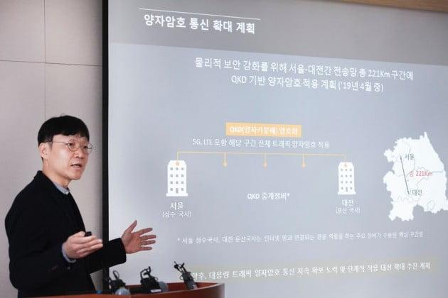 복재원 코어(교환장비) 엔지니어팀 리더가 양자암호통신 기술에 대해 설명하고 있다./사진=SKT