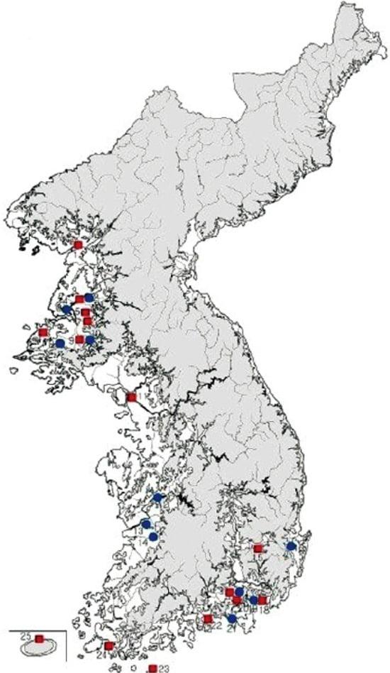 청색은 한경(漢鏡)·적색은 중국화폐가 출토된 지역.