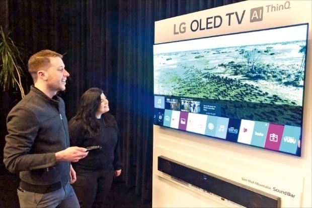 2019년형 LG 올레드(OLED) TV 체험행사가 지난 21일 미국 뉴욕에서 열렸다. 관람객들이 LG전자의 TV 신제품을 살펴보고 있다.     /LG전자 제공