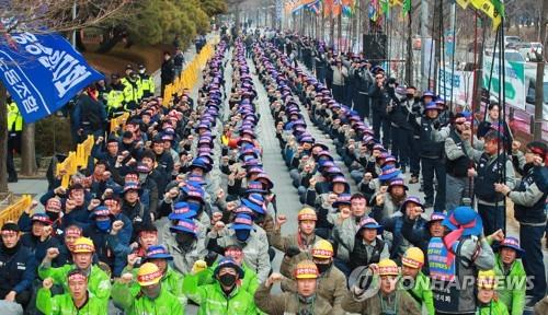 '본계약 막는다'…대우조선 노조 상경 청와대까지 행진