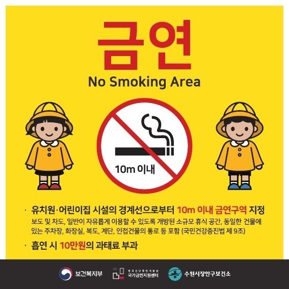 수원시, 어린이집·유치원 주변서 흡연시 과태료 10만 원