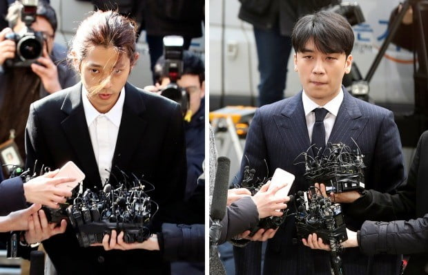 피의자 신분으로 서울지방경찰청에 출석한 정준영-승리. 사진=연합뉴스