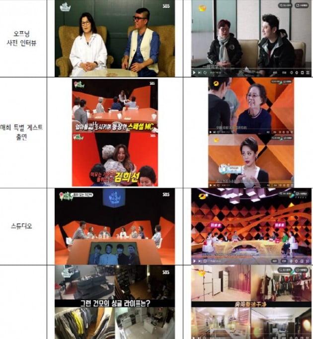 SBS '미운우리새끼'와 후난위성TV '아가나소자'의 방송 화면 비교/사진=김성수 의원 제공