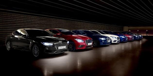 현대자동차의 고급 브랜드 제네시스 차량 라인업 / 사진=현대차