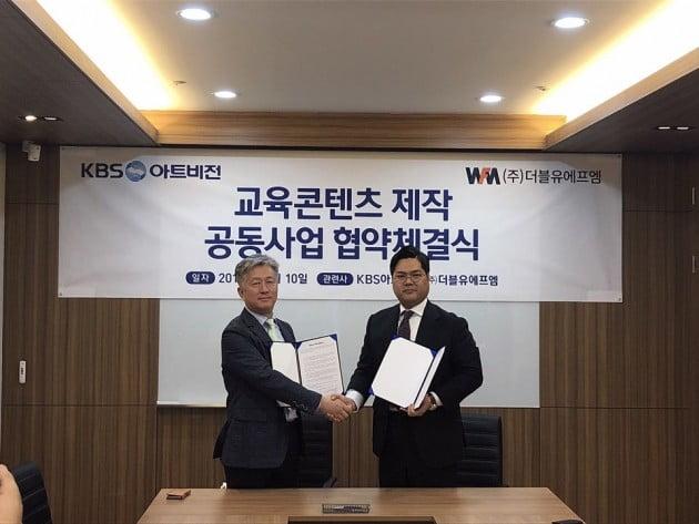 왼쪽부터 박상재 KBS아트비전 대표와 이상훈 더블유에프엠 대표
