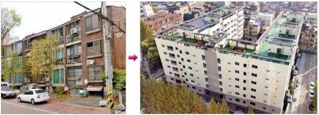 서울 강동구 천호동 옛 동도연립 66가구(왼쪽)를 지하 1층~지상 7층 96가구로 재건축(오른쪽)한 가로주택정비사업. 서울시 '미니 재건축' 1호 단지로 2017년 말 완공됐다. /한경 DB