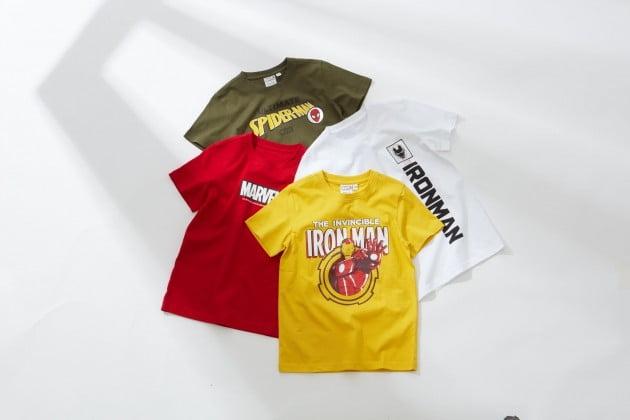 이마트가 아동용 마블 티셔츠 12종, 유아용 마블 의류 4종을 각 9900원에 판매하고 있다.