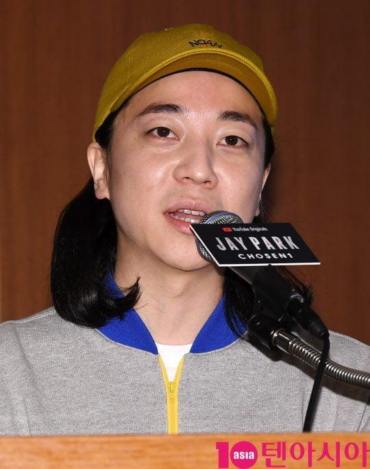 가수 넉살이 25일 오후 서울 소공동 롯데호텔서울에서 열린 유튜브 오리지널 'Jay Park: Chosen1(제이팍: 쵸즌원)' 기자간담회에 참석하고 있다.