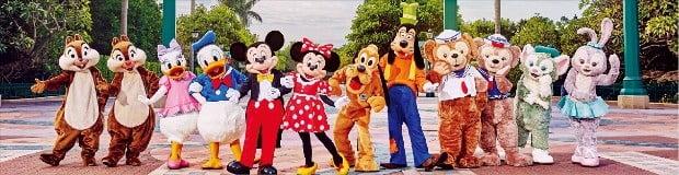 미키와 미니, 도날드 덕, 구피, 플루토 등 디즈니의 인기 캐릭터들.