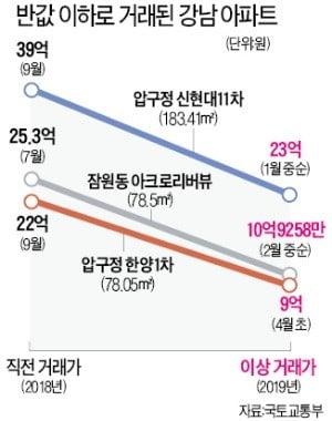 20억→9억원…강남 아파트 '반값' 이상거래
