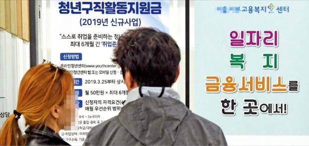 청년구직활동지원금 1차 접수에 7일 동안 4만8610명이 몰려 4 대 1 안팎의 경쟁률을 나타냈다. 16일 서울 시내 한 고용복지플러스센터에서 청년들이 지원금 신청 안내문을 살펴보고 있다.  /허문찬 기자  sweat@hankyung.com