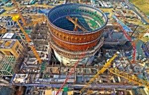종합 공정률 40%를 넘어선 신고리 5·6호기 건설현장.  /한국수력원자력 제공