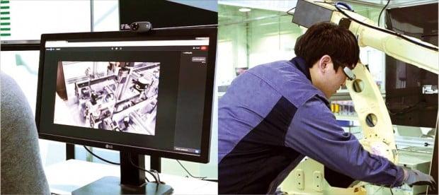 산업용 AR 솔루션 '버넥트 리모트'로 현장을 들여다보는 엔지니어.  버넥트 제공