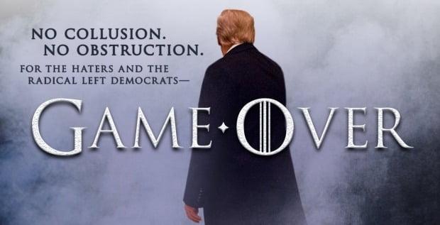 '왕좌의 게임'을 패러디해 '게임오버'를 선언한 도널드 트럼프 미 대통령. 트럼프 대통령 트위터 캡처