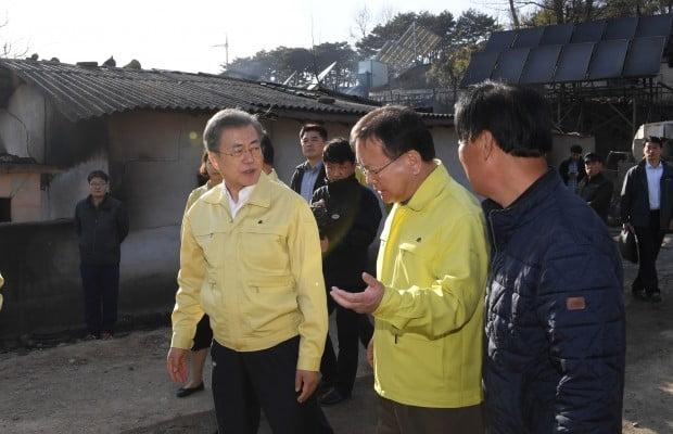 산불 피해 상황 점검하는 문 대통령 (사진=연합뉴스)