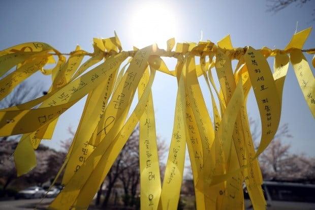 봄바람에 펄럭이는 추모 메시지 (사진=연합뉴스)