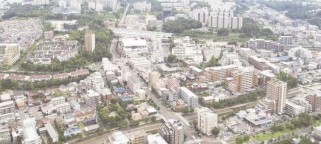 일본 도쿄도 다마시와 하치오지시, 이나기시, 마치다시 등에 걸친 타마신도시. 사진 다마시