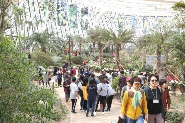 1일 정식 개원한 서울 강서구 마곡 서울식물원 온실이 오전부터 관람객들의 발길이 이어지고 있다.   서울식물원은 식물원과 공원이 결합한 국내 최초의 보타닉(botanic) 공원이다. 임시 개방 기간에만 250만명이 다녀갔다. 이 곳 총면적은 50만4천㎡로 여의도공원(22만9천㎡)의 2.2배다. 식물원이 전체 면적의 약 21%(10만6천㎡)를 차지한다. 보유 중인 식물은 3천100여종에 이른다.  / 사진 = 연합