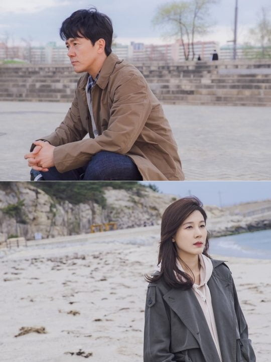 JTBC '바람이 분다'에 출연하는 배우 감우성(위), 김하늘. / 제공=드라마하우스, 소금빛미디어
