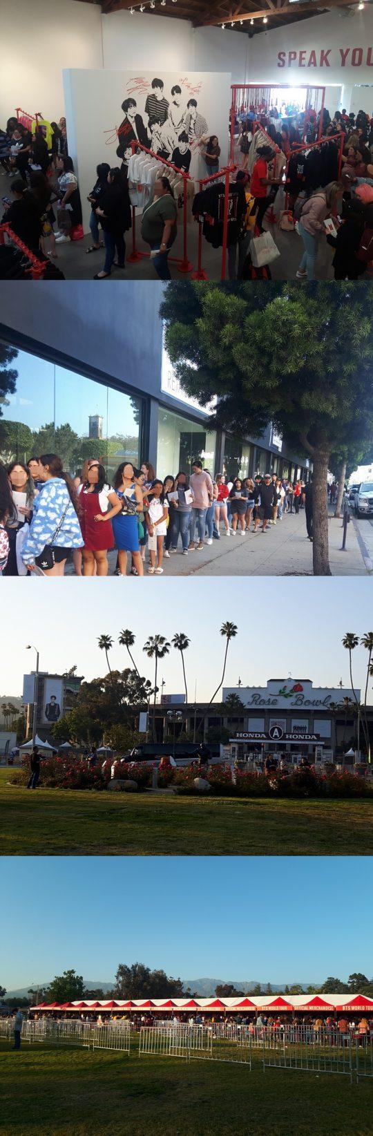 미국 LA에 위치한 그룹 방탄소년단의 팝업스토어와 로즈볼 스타디움에 팬들이 가득하다. / 로스앤젤레스=우빈 기자