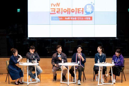 '크리에이터 톡'에 참석한 방송인 박슬기(왼쪽부터), 정종연 PD, 손창우 PD, 문태주 PD, 박희연 PD, 김민경 PD.  / 제공=CJENM
