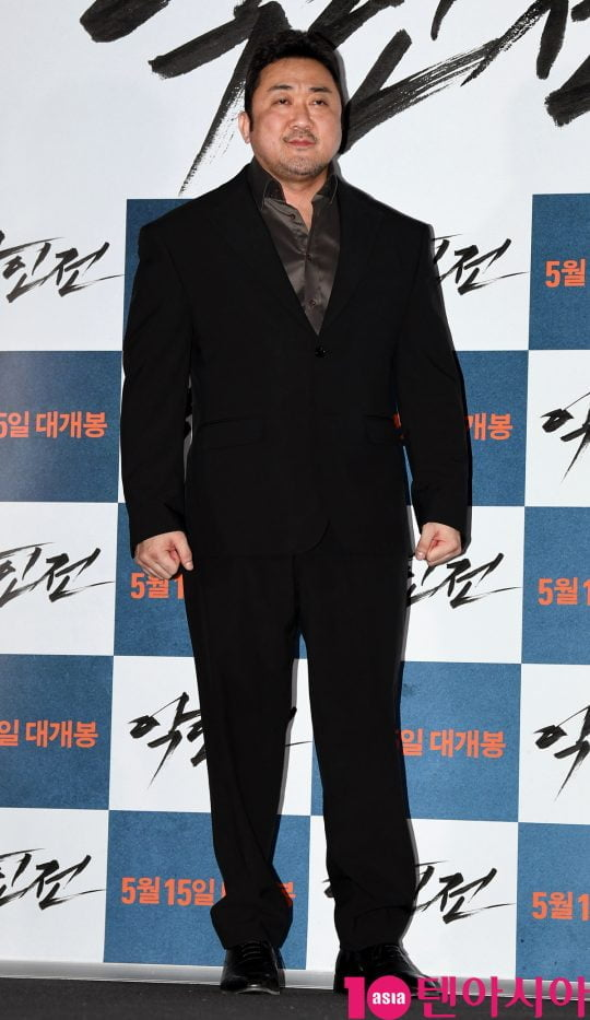 배우 마동석이 7일 오후 서울 용산구 한강로 용산 아이파크몰 용산 CGV에서 열린 영화 '악인전' 언론시사회에 참석하고 있다.