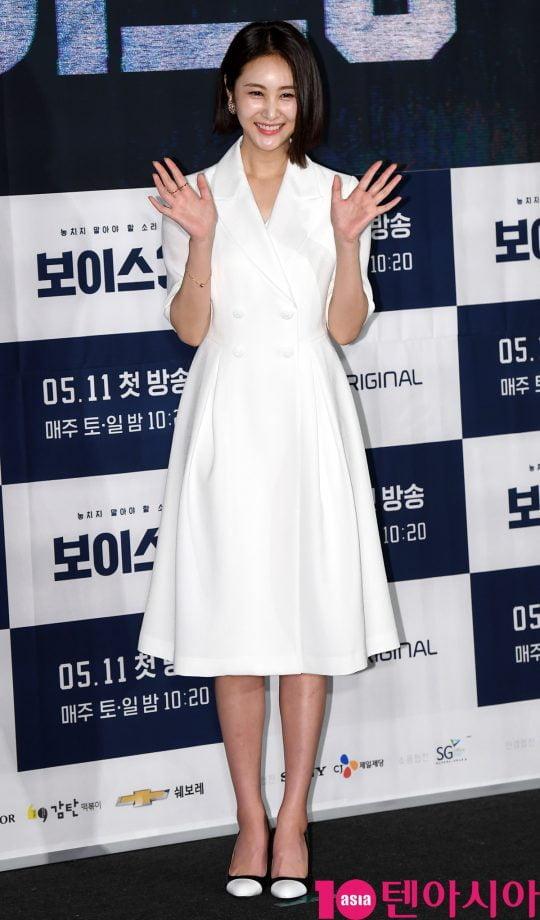 손은서가 9일 오후 서울 영등포동 영등포 CGV에서 열린 OCN 토일 오리지널 '보이스3' 제작발표회에 참석하고 있다.