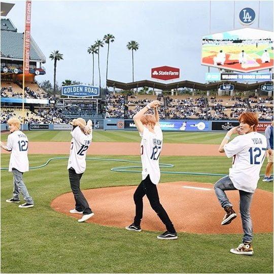 그룹 NCT 127의 마크(왼쪽부터), 태용, 재현, 유타./ 사진제공=LA Dodgers 공식 SNS