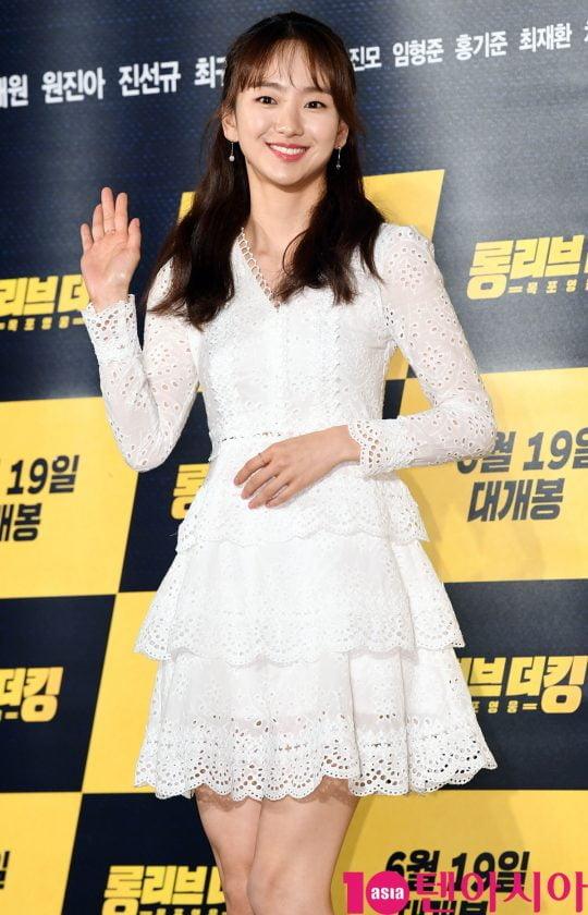 배우 원진아가 20일 오전 서울 중구 을지로 메가박스 동대문에서 열린 영화 '롱 리브 더 킹: 목포 영웅' 제작보고회에 참석하고 있다.