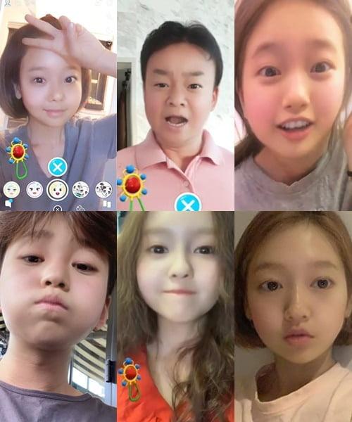 아기로 변한 배우 소유진(왼쪽부터 시계방향), 백종원, 수지, 박신혜, 효민, 딘딘./ 사진=인스타그램